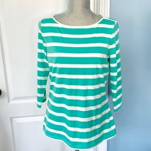 EUC The Limited Teal Striped 3/4 Length Sleeve Top